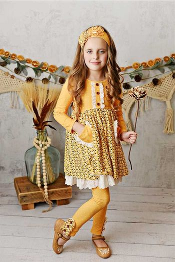 Serendipity Harvest Fields Dress with Leggings Butterscotch