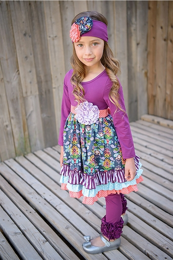Serendipity Jeweled Forest Plum Dress and Legging SOLD OUT