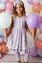 Serendipity Lavender Mint Fields Dress with Capri