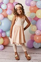 Serendipity Peachy Sorbet Dress with Capri Leggings (2T,4T,5)