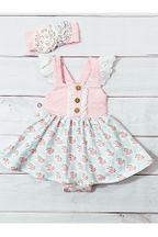 Serendipity Pink Rose Bubble Dress Infant (3Mos,12Mos,18Mos,24Mos)