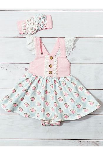 Serendipity Pink Rose Bubble Dress Infant (Sizes 3Mos to 24Mos)
