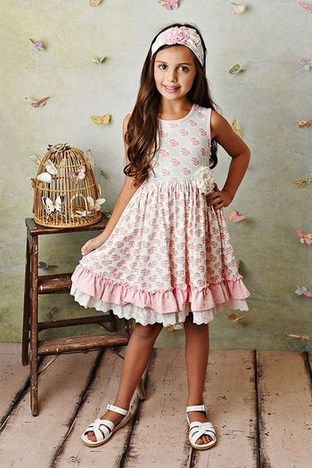 Serendipity Pink Rose Dress and Shortie (Sizes 2 to 8)