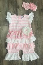 Serendipity Pink Stripe Shortall Unicorns (12Mos & 24Mos)
