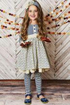 Serendipity Ruffle Dress Ivory and Blue (3T,4T,4,5)