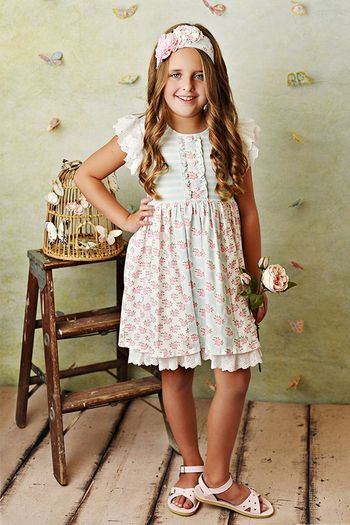 Serendipity Ruffle Sleeve Pink Rose Dress and Shortie (Size 2T to 10)