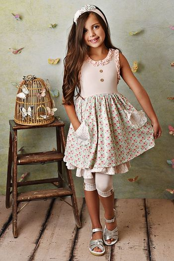 Serendipity Sweet Pea Dress and Capri (Size 2T to 10)