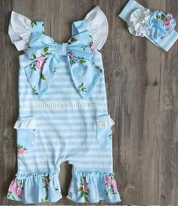 Serendipity Vintage Rose Bow Shortall in Blue (9Mos & 24Mos)