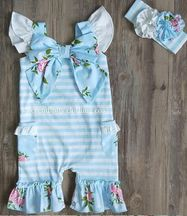 Serendipity Vintage Rose Bow Shortall in Blue (Size 9Mos)