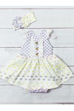 Serendipity Lemon Bloom Bubble Dress Baby (6Mos,12Mos,18Mos,24Mos)