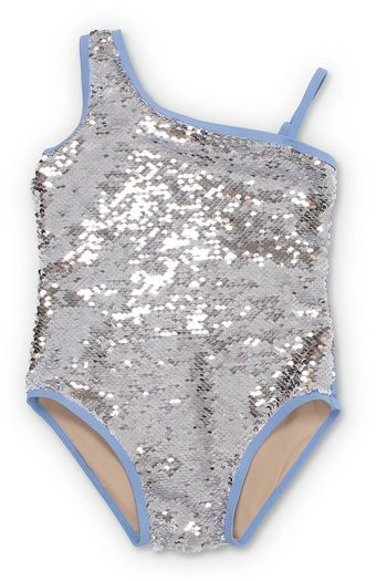 Shade Critters One Shoulder Sequin Swim (4T,5,6,12,14)