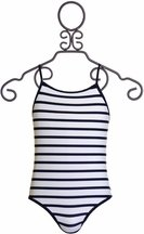 SnapperRock Navy Stripe Crossback Swimsuit (Size 8)