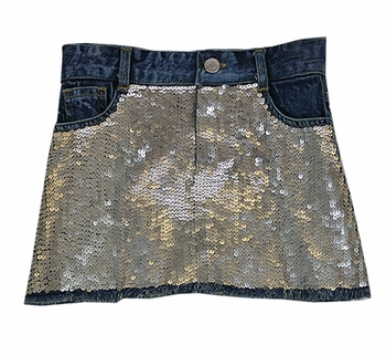 Flowers by Zoe Sparking Silver Sequin Jean Skirt (MD 10 & LG 10/12)