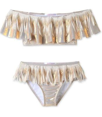 Stella Cove Gold Bikini with White Fringe
