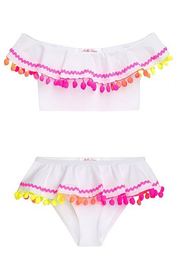 Stella Cove Ruffle with Ric Rac & Pom Poms (Size 2)