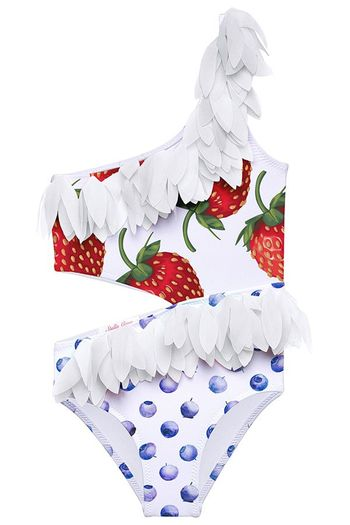Stella Cove Strawberry Tank Swimsuit with Petals (4,10,12)