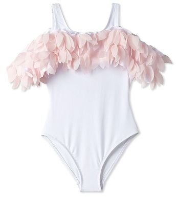Stella Cove White  Swimsuit with Pink Petals (6 & 10)