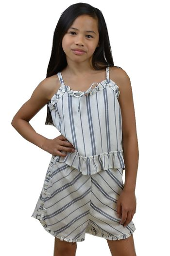 Summer Short Set Ivory and Gray (Size 8)