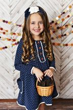 Swoon Baby Navy Polka Dot Dress