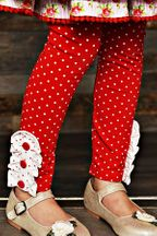 Swoon Baby Winter Bloom Red Polka Dot Legging
