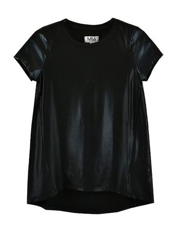 Trendy Leather Sleeve Tween Top Black (Size LG 12)