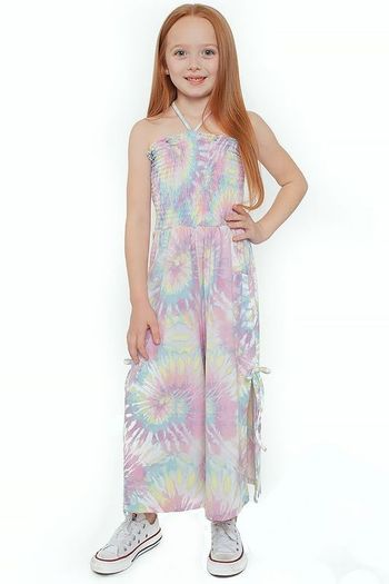 Tru Luv Tie Dye Romper in Pastel with Ruched Top (Sizes 7 to 14)