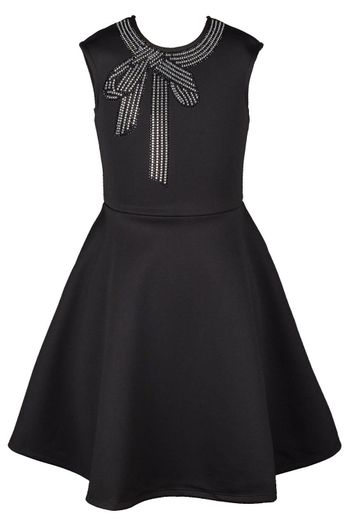 Truly Me Black Dress with Rhinestone Bow (Size 12)