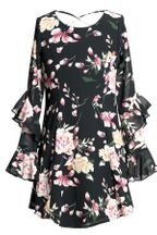 Truly Me Black Floral Dress (10,12,14)