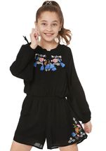 Truly me Black Romper with Embroidery for Tweens