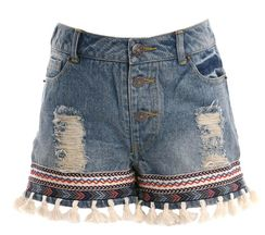 Truly Me Denim Short Tassel Trim