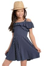 Truly Me Fit and Flare Ruffled Dress in Navy (7,10,14)