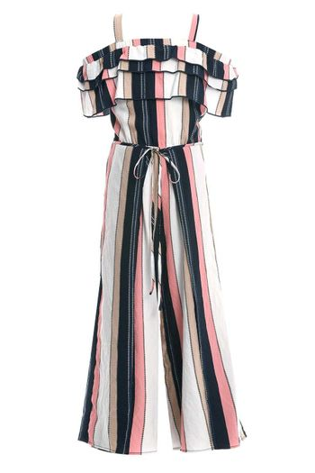 Truly Me Stripe Romper Off the Shoulder SOLD OUT