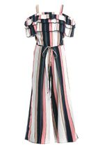 Truly Me Stripe Romper Off the Shoulder (Size 7)
