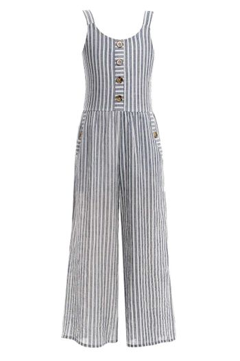 Truly Me Striped Jumpsuit in Blue