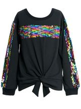 Truly Me Sweatshirt with Sequins in Black