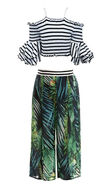Truly Me Tropical Print Culottes and Top
