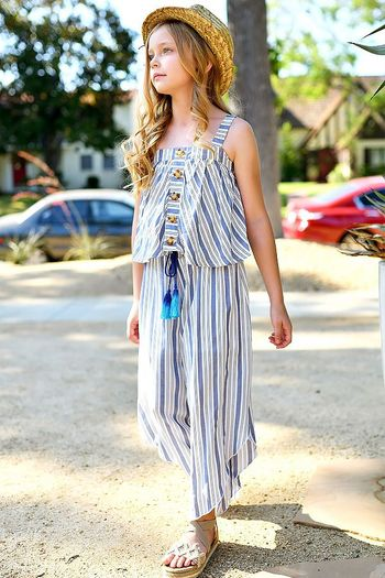 Truly Me Tween Summer Culotte Outfit in Blue & White (7 & 8)