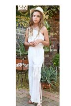 Truly Me White Eyelet Jumpsuit (Size 8)