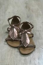 Tween Champaign Sandal with Leaf Detail