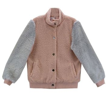 Tween Fuzzy Jacket in Pink and Gray (8,10,12)