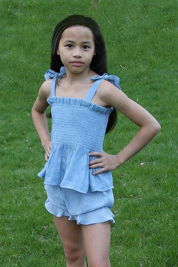 Tween Polka Dot Short Set in Blue
