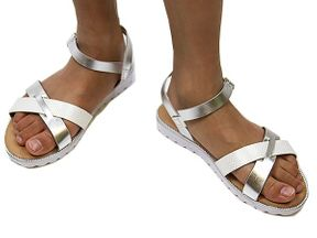 Tween Summer Sandals Silver and White