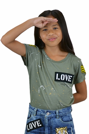 Flowers by Zoe Tween Tee in Olive with Patches (Size MD 10)