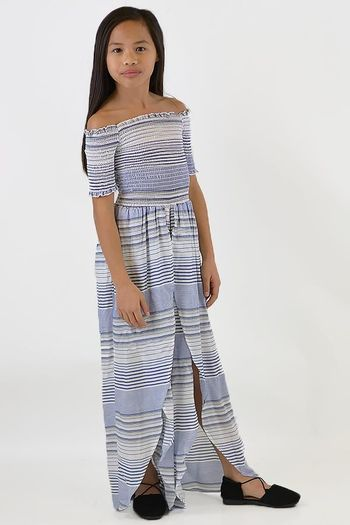 Vintage Havanah Striped Jumpsuit in Blue