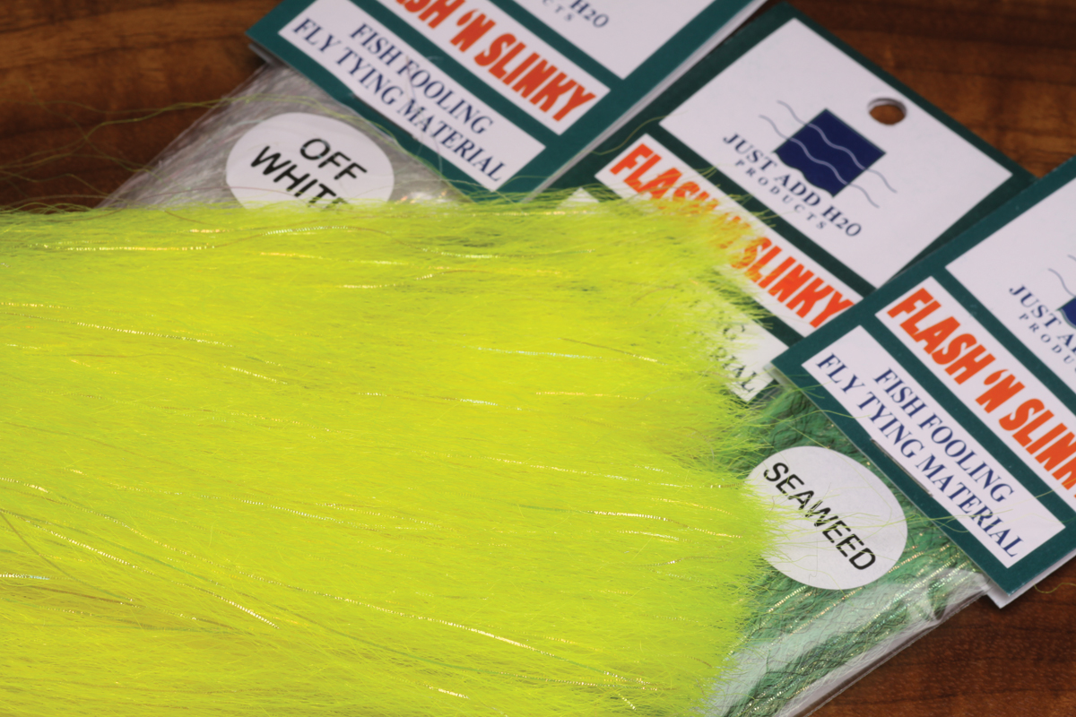 Chartreuse Mottled Just Add H2O Slinky Blend for Fly Tying