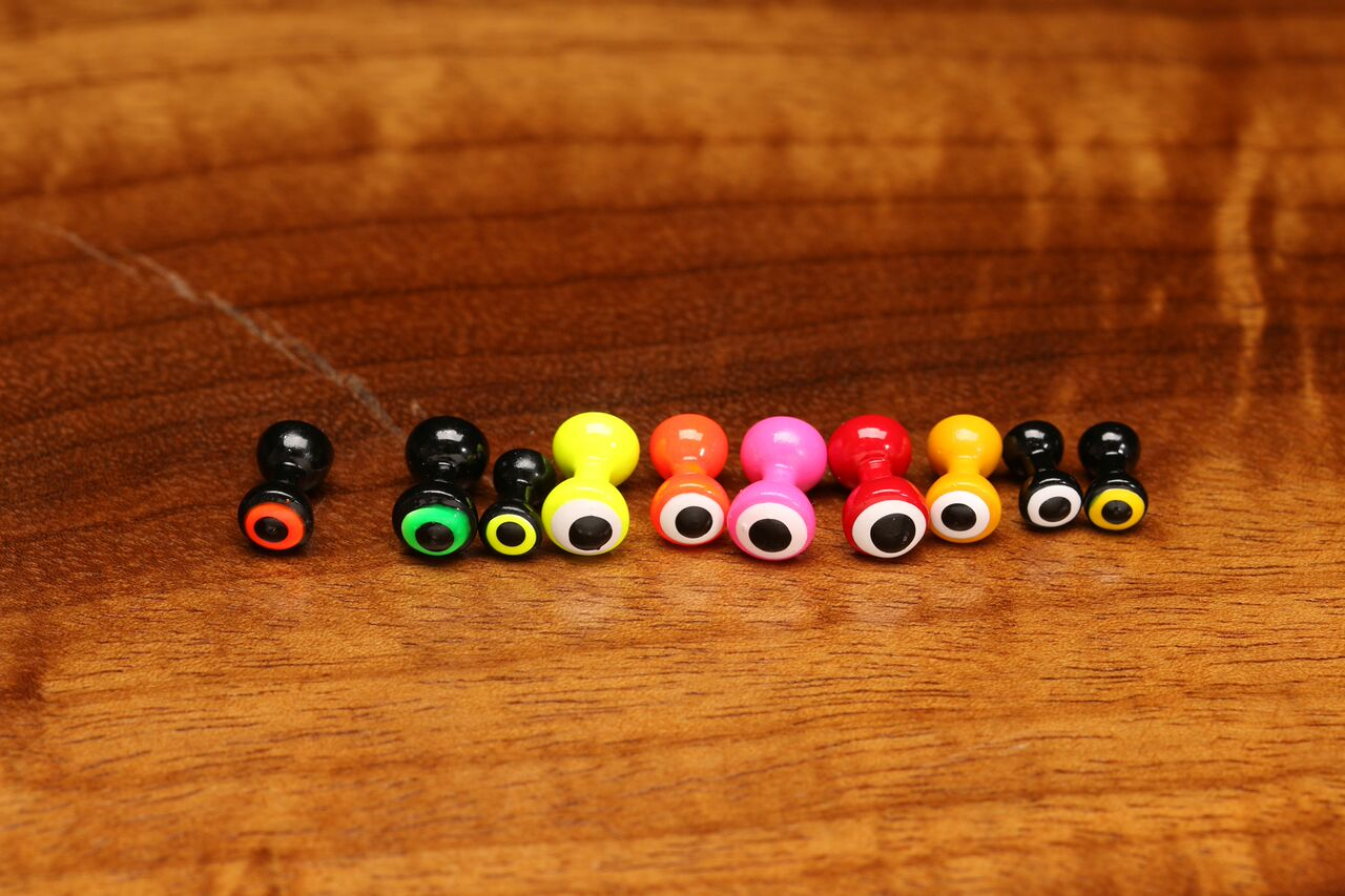 NEW FLY TYING MATERIALS HARELINE DOUBLE PUPIL BRASS EYES CHARTREUSE MEDIUM