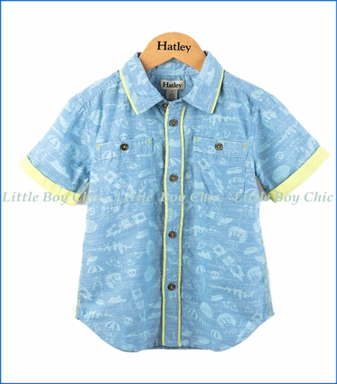 Hatley, Monster Mashup Button Up Shirt in Blue