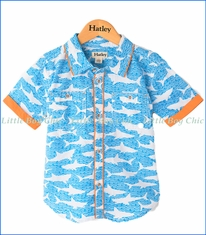 Hatley, Shark Alley Button Up Shirt in Blue