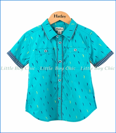 Hatley, Superbolt Button Down Shirt in Turquoise