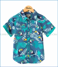Hatley, Tropical Toucans Button Up Shirt in Blue